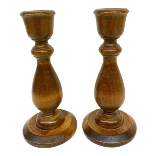 Vermont Wooden Candlesticks - A Pair