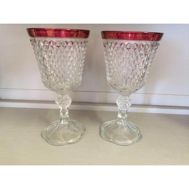 Mid Century Vintage Cranberry Pressed Glass Vases - Image 2 of 3