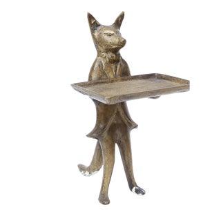 Vintage Brass Fox Business Card Holder Dish