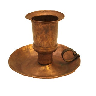 Arts & Crafts Hammered Copper Candle Holder