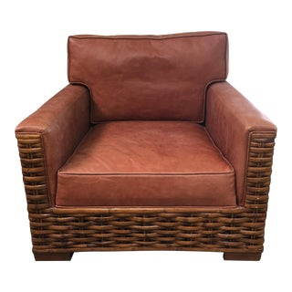 Woven Rattan Brown Leather Club Chair