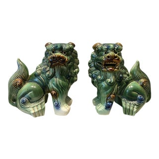 Green Foo Dog Figurines - A Pair