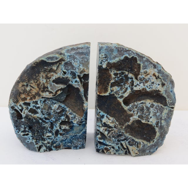 Blue Geode Bookends - A Pair - Image 4 of 7