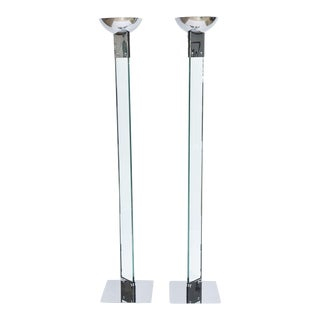Pair of Polished Chrome and Glass Floor Lamps, Manner of Fontana Arte