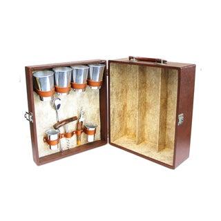 Vintage Travel Bar Cocktail Set Brown Leather Case
