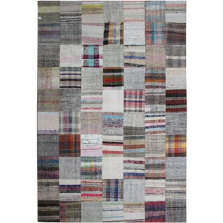 "Antique Hand Knotted Patchwork Kilim Rug - 9'10"" X 6'9"""