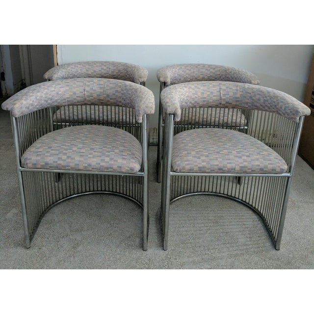Platner Style Chrome & Fabric Chairs - Set of 4 - Image 2 of 3