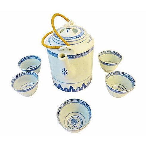 Rice Grain Porcelain Tea Pot & Cups - Set of 6 - Image 1 of 7