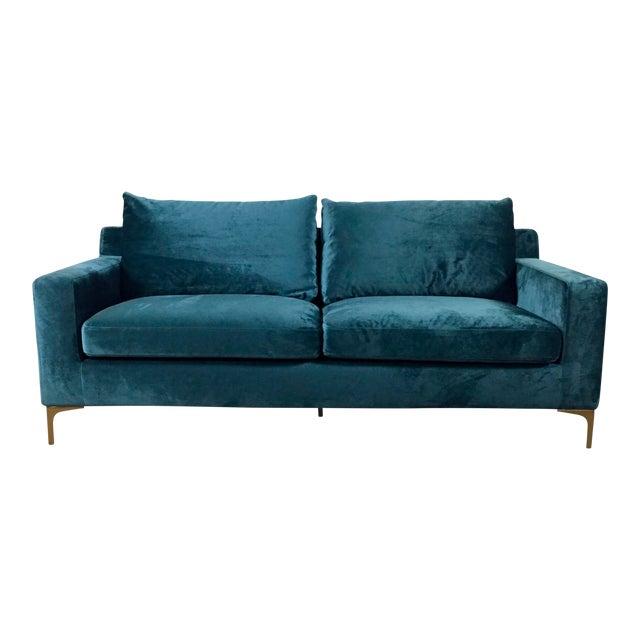 Blue Aqua Velvet Modern Sofa Chairish