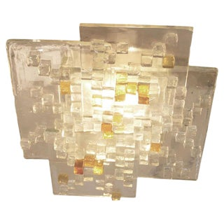 Glass Ceiling Light by Poliarte, Italy, 1960s-1970s