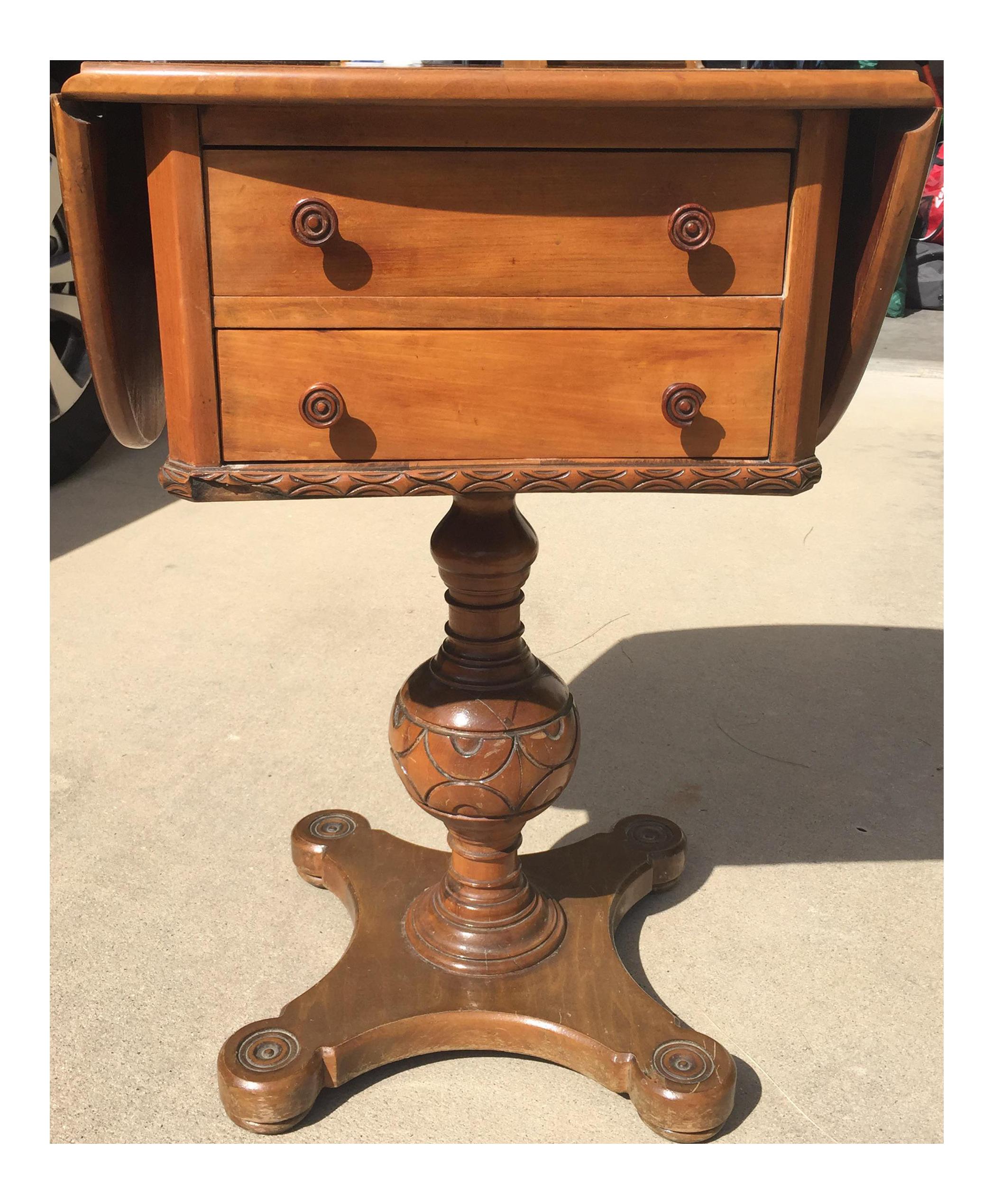 Antique Pedestal Pembroke Drop Leaf Table