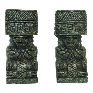 Vintage Emerald Green Tiki Bookends - a Pair