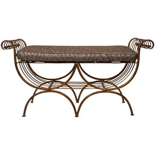 1960s Italian Hollywood Regency Style Cushioned Gilt Metal Bench