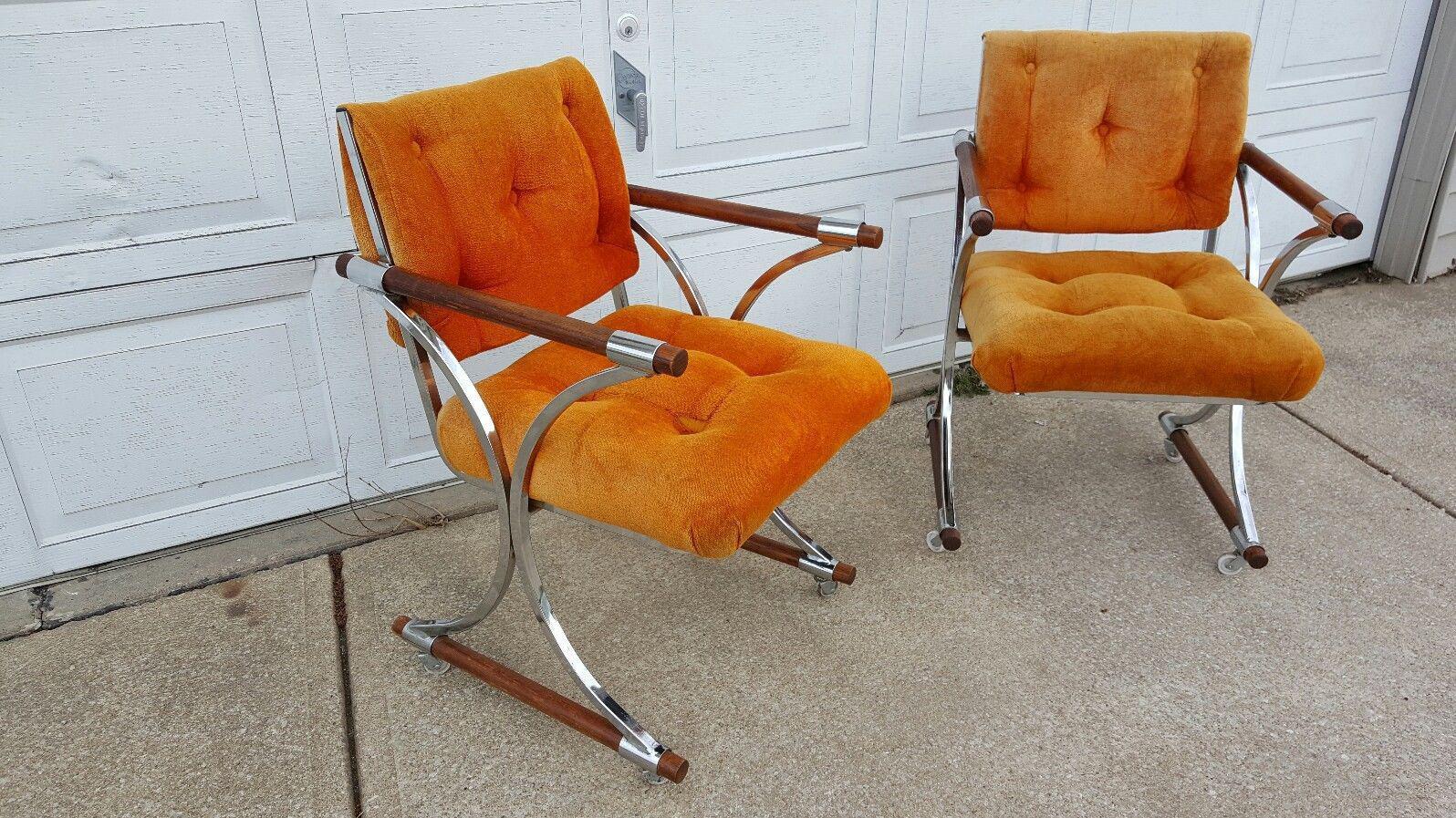 cleo baldon chrome u0026 oak dining chairs a pair image 4 of 11