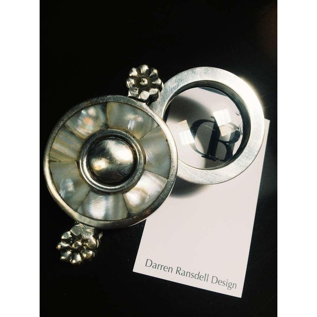 Mother of Pearl Plate and Silver Magnifying Glass - Image 3 of 5