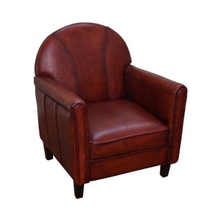 Quality French Art Deco Style Childs Leather Club Chair