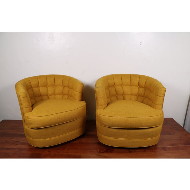 Tufted Swivel Chairs - Pair - Image 2 of 5