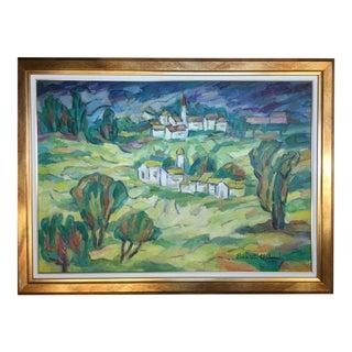 Framed Landscape Oil Painting of Italy by Elena Uta Chelaru
