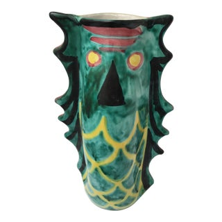 Italian Hand Painted Fish Ceramic Vase