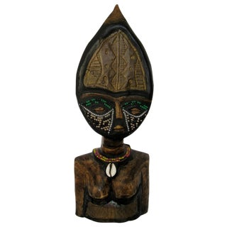 Vintage Hand-Carved Primitive African Wood Bust