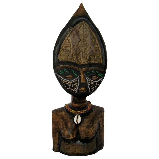 Image of Vintage Hand-Carved Primitive African Wood Bust
