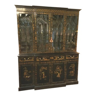 Chic Regency Style Chinoserie Decorated Breakfront Cabinet