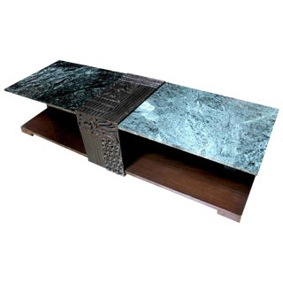 Thai Custom Marble & Carved Wood Coffee Table, Circa 1970
