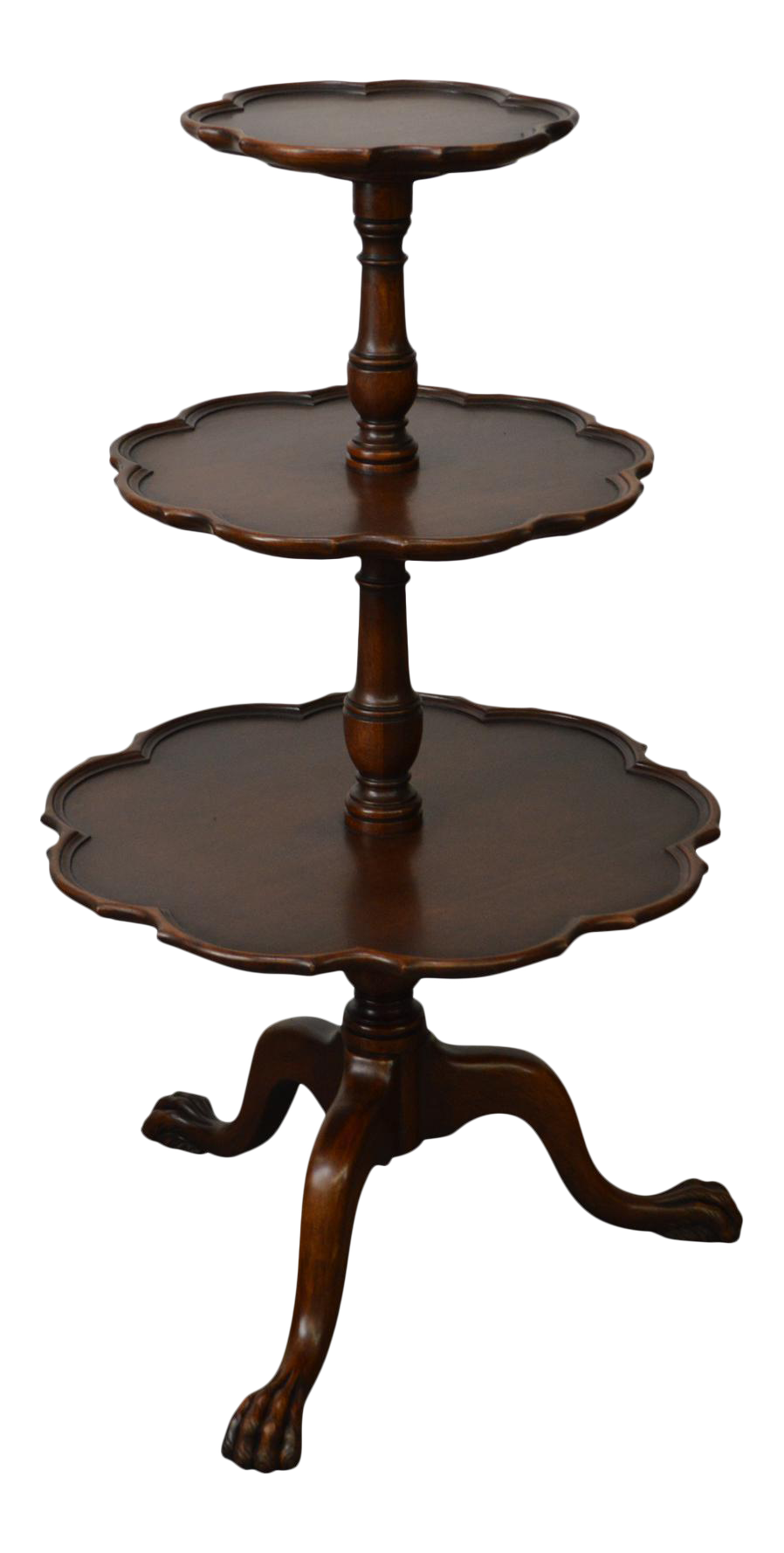 Vintage Mahogany Chippendale Style Claw Foot 3 Tier Dumbwaiter Table - Image 1 of 11