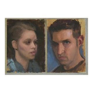 Vintage Interesting Portrait Oil Painting Study - Set of 2