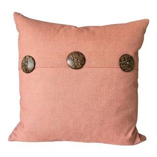 Coral Pillow, Feather Insert & Decorative Teak Buttons. Nautical Decor