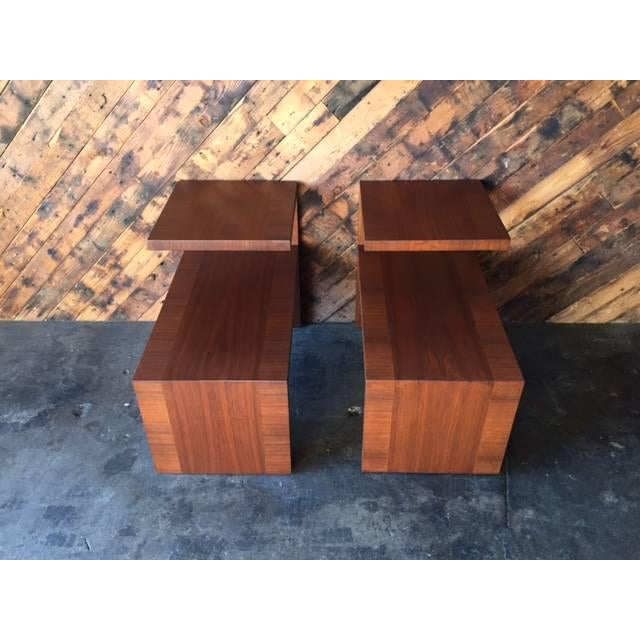 Mid-Century Vintage Walnut Side Tables - A Pair - Image 3 of 8