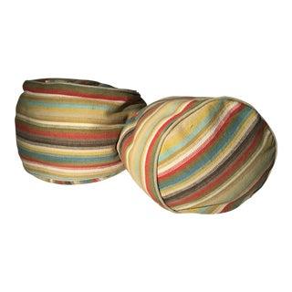 Striped Burlap Bean Bag Cushions - A Pair