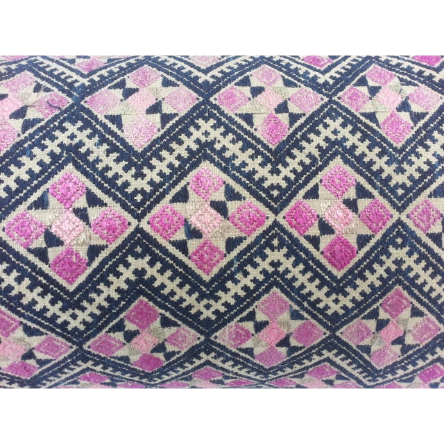 Image of Embrodered Vintage Wedding Quilt Pillow