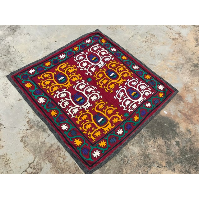 Vintage Square Suzani Fabric - Handmade Table Cover - 4.0' x 4.2' - Image 2 of 6