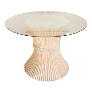 McGuire Sheaf of Wheat Glass Top Round Dining Table