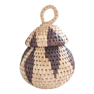 Native American Lidded Coil Basket
