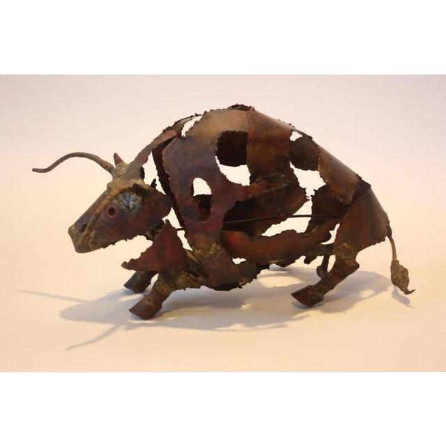 Torch-Cut Mixed Metal 'Bull' Sculpture - Image 2 of 11