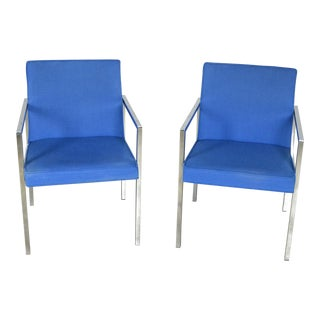 Hibriten Vintage Blue Chrome Armchairs - A Pair