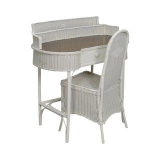 Antique Wicker Desk Vanity w/ Chair