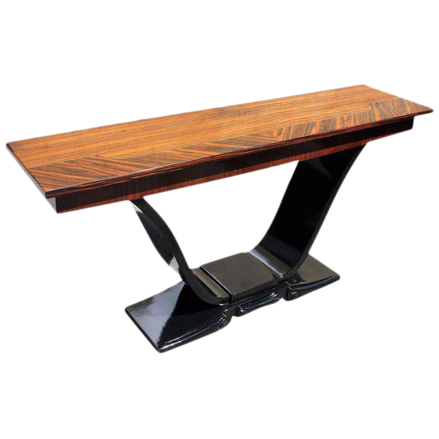 Spectacular French Art Deco Macassar Ebony Console Table Circa 1940s .    Image 1 Of 10