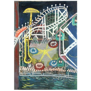 "Ludwig Bemelmans ""Coney Island"" oil painting"