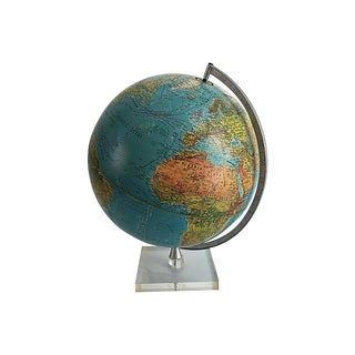 Illuminating Danish Globe With Lucite Stand