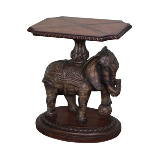 Maitland Smith Leather Top Elephant Side Table