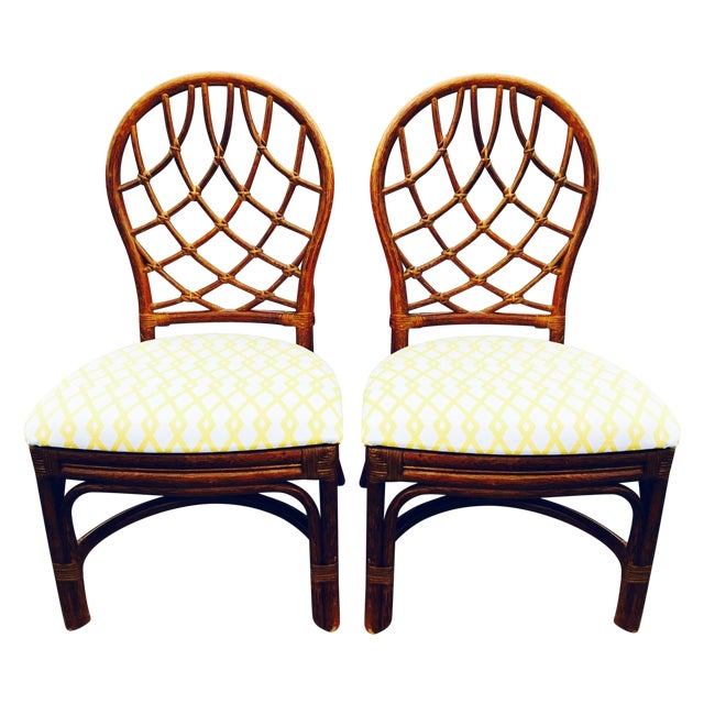 Vintage Lane Reupholstered Rattan Chairs - A Pair - Image 1 of 8