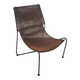 Frederick Weinberg Attributed Wicker & Iron Scoop Chair