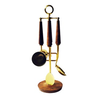 Mid-Century Hanging Wood Bar Tool Set - 4 Pieces