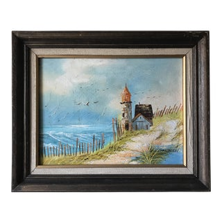 Vintage Seaside Lighthouse Painting
