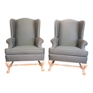 Green Ethan Allen Wing Chairs - Pair