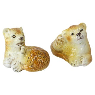 Italian Ceramic Lion Cubs - a Pair