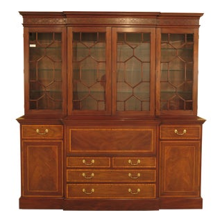Henkel Harris Chippendale Style Mahogany Breakfront Bookcase